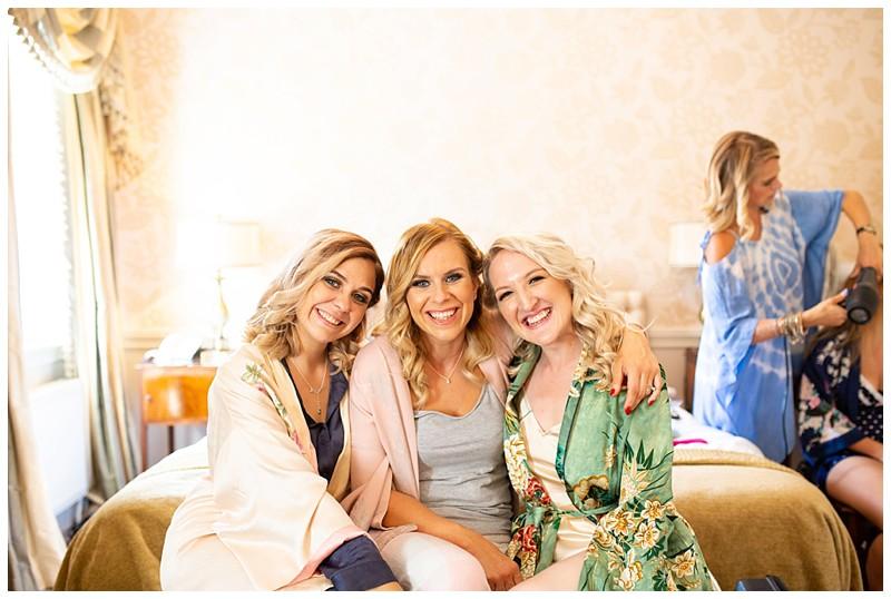 friends at a wedding, silk wedding robes