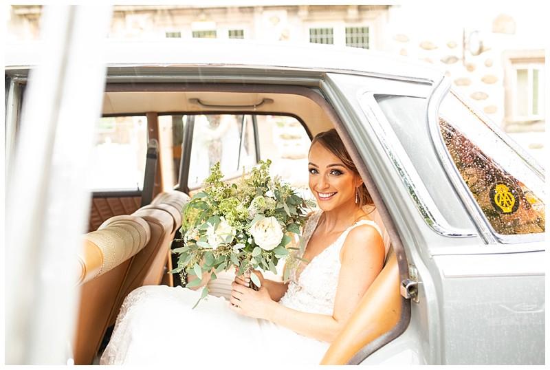 bride arriving at venue, vintage mercedes