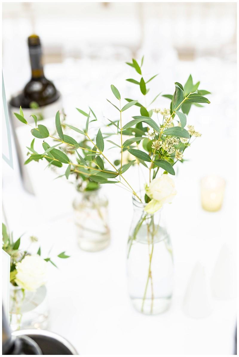wedding table, flowers in vases
