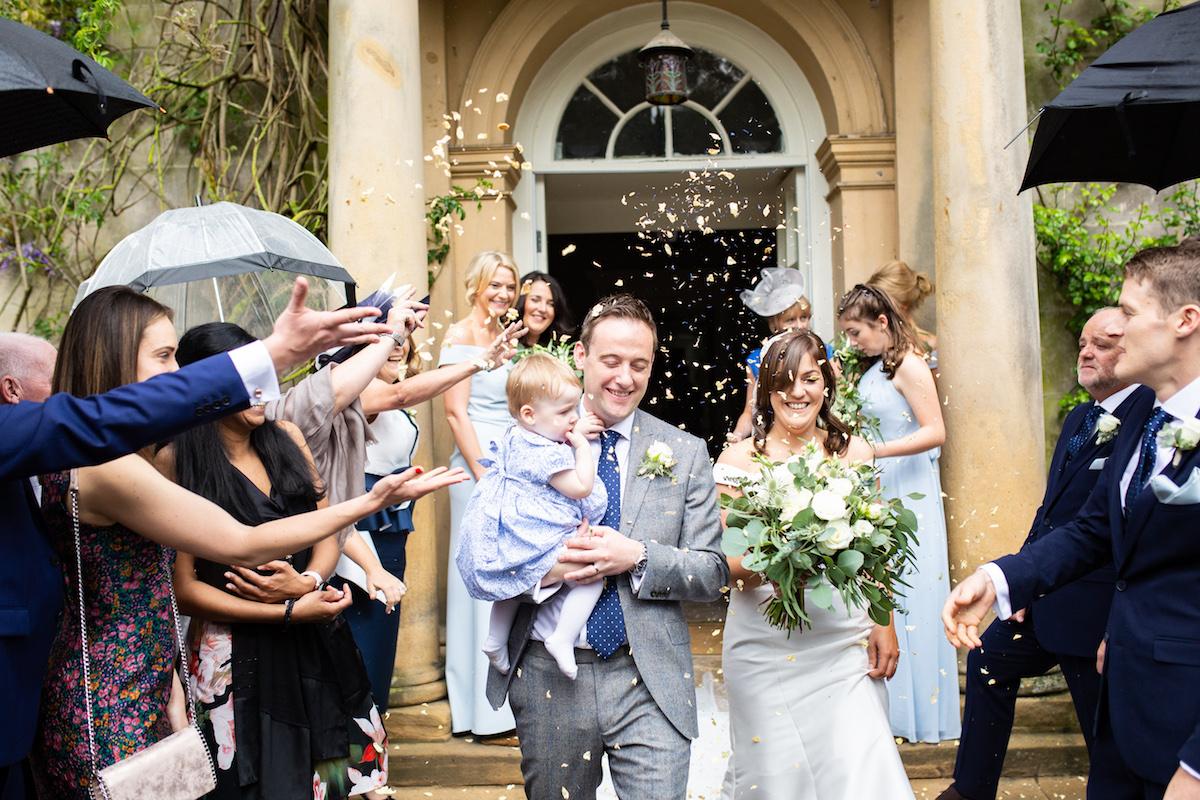 Middleton Lodge Wedding Photographer, Wedding flowers middleton lodge, wedding reception, confetti