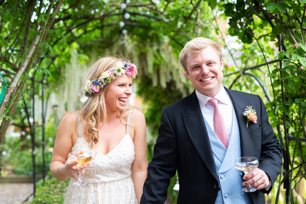 Boho Garden Wedding couple portraits