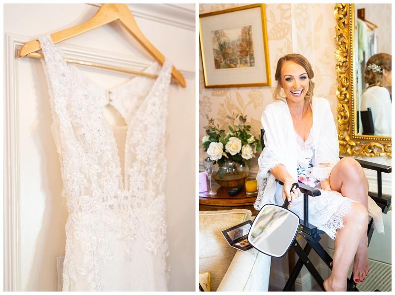 wedding dress, bride getting ready, happy bride, Losehill hotel and spa wedding