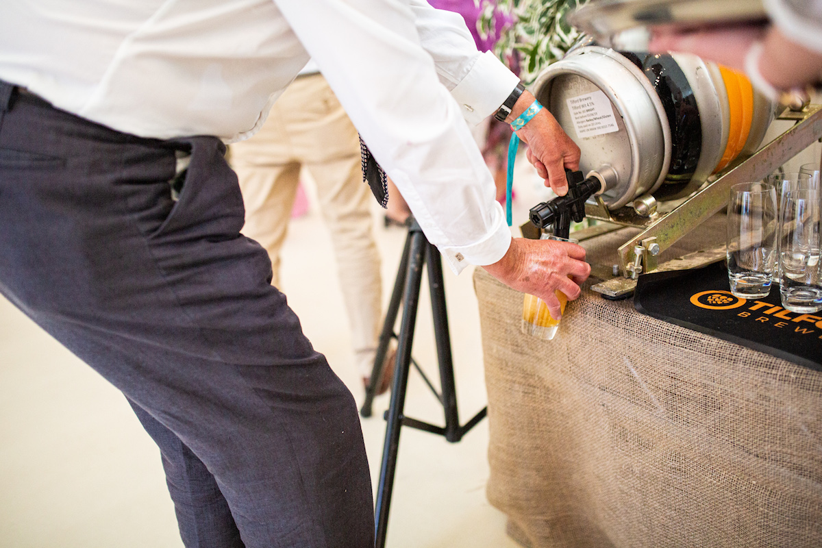 Boho Garden Wedding beer keg