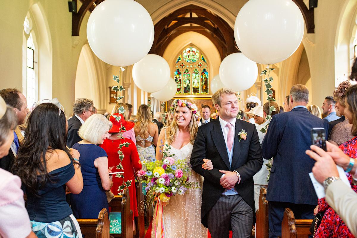 Boho Garden Wedding just married