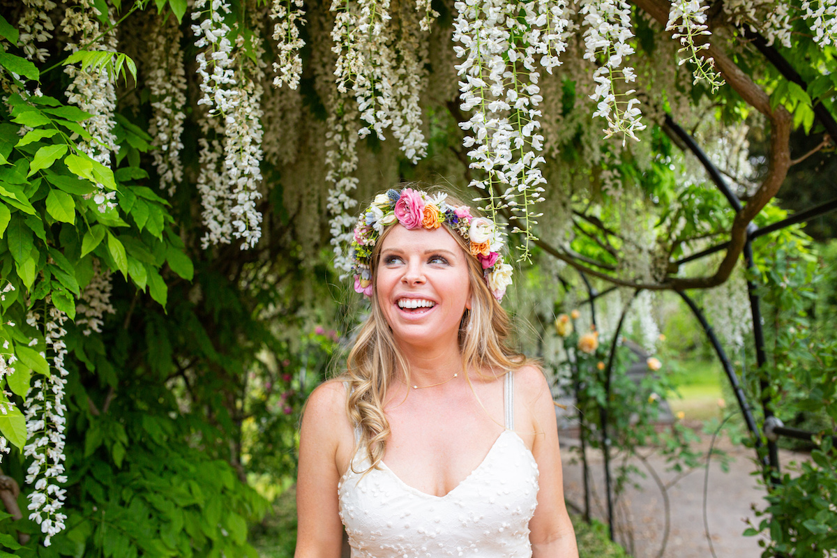 Boho Garden Wedding couple portraits