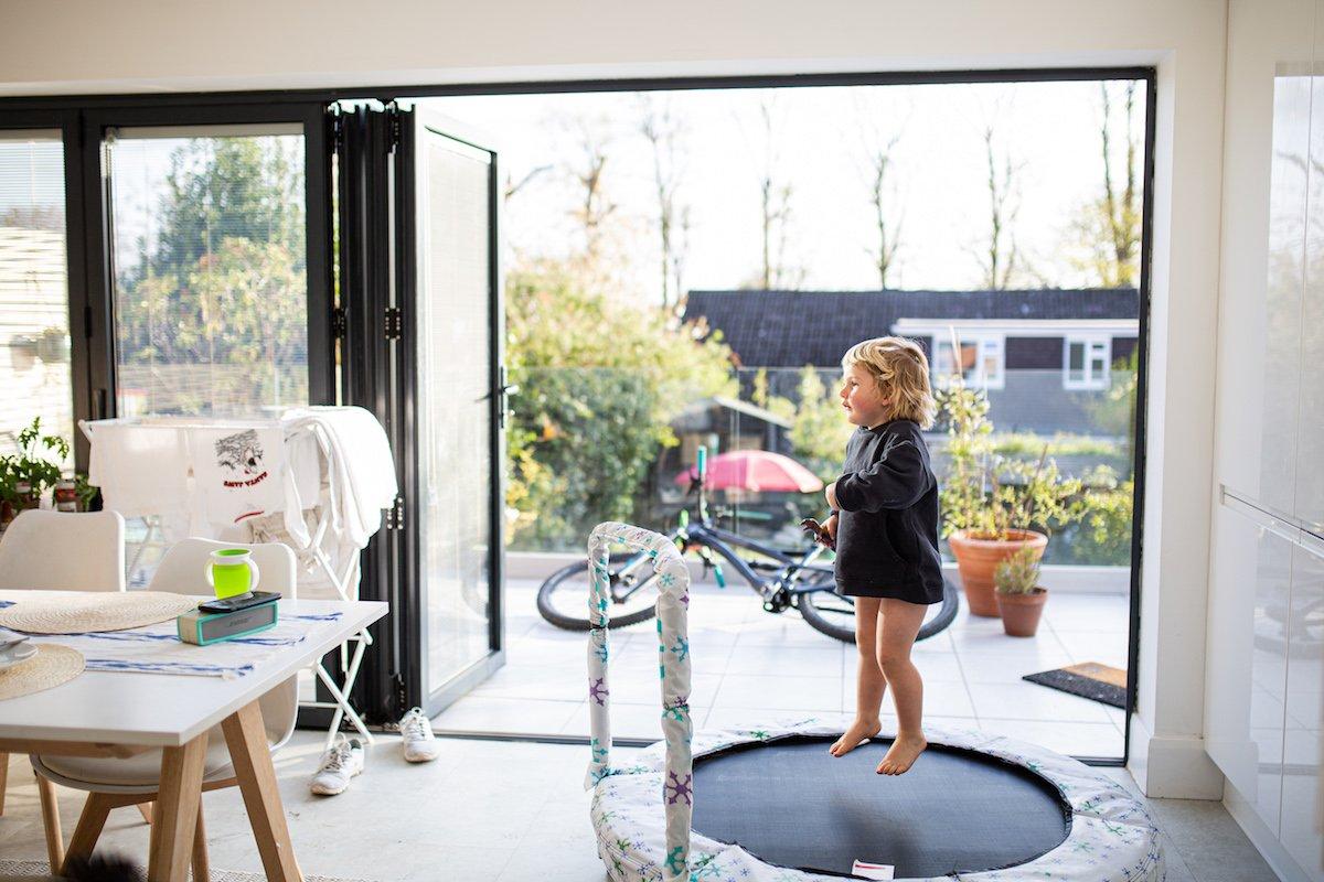 trampoline in the kitchen